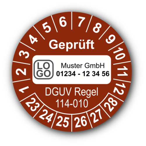 Geprüft DGUV Regel 114-010, braun, mit Wunschtext
