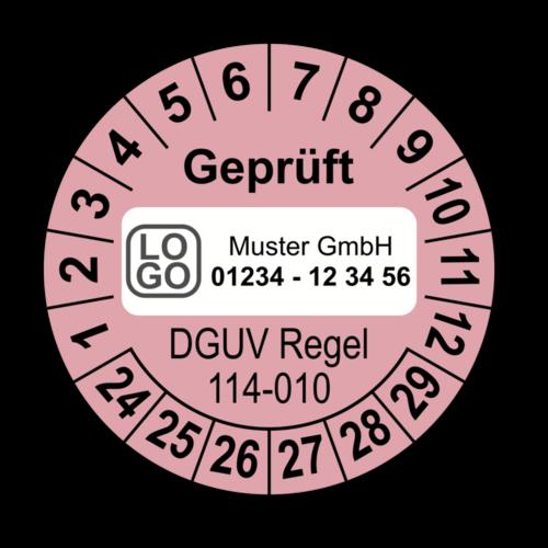 Geprüft DGUV Regel 114-010, rosa, mit Wunschtext