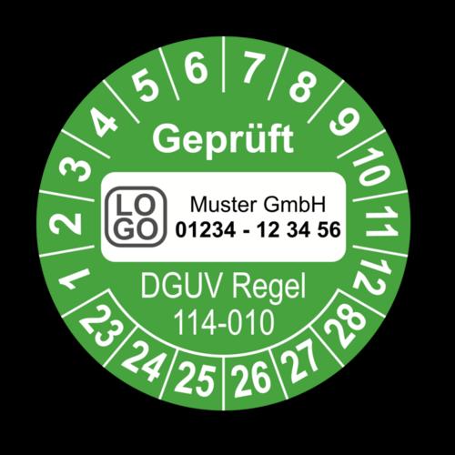 Geprüft DGUV Regel 114-010, grün, mit Wunschtext