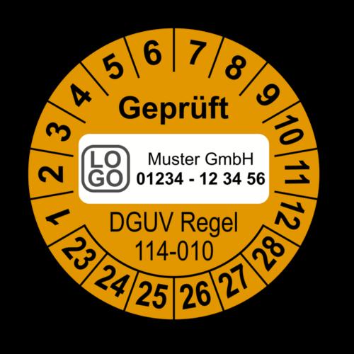 Geprüft DGUV Regel 114-010, orange, mit Wunschtext