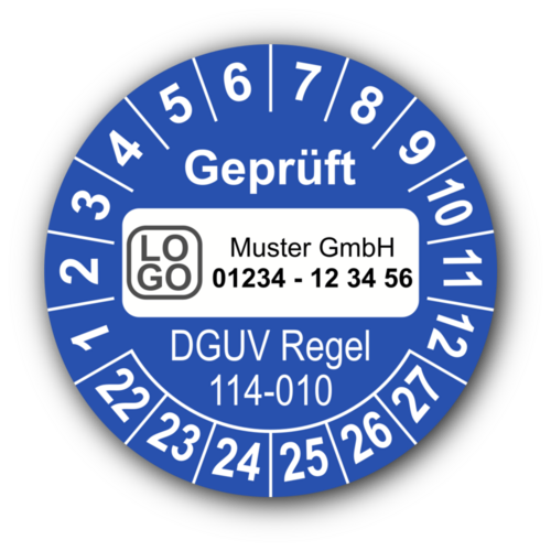 Geprüft DGUV Regel 114-010, blau, mit Wunschtext