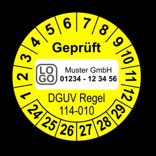 Geprüft DGUV Regel 114-010, gelb, mit Wunschtext