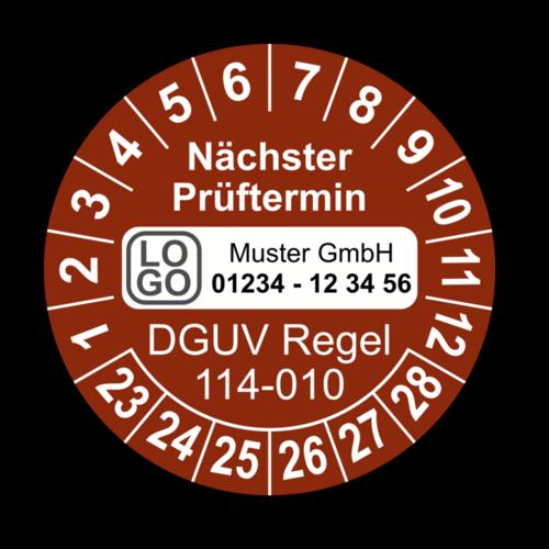 Nächster Prüftermin DGUV Regel 114-010, braun, mit Wunschtext