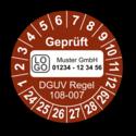 Geprüft DGUV Regel 108-007, braun, mit Wunschtext