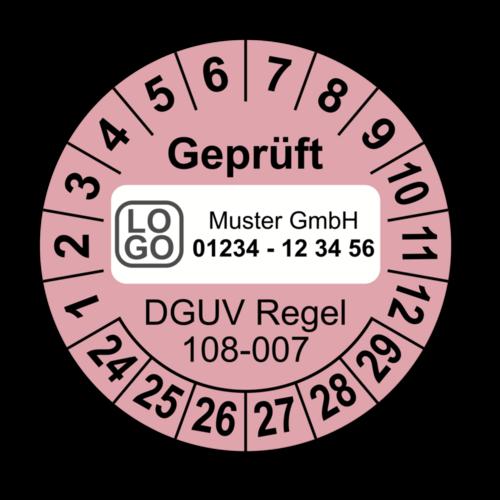 Geprüft DGUV Regel 108-007, rosa, mit Wunschtext