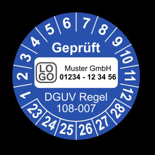 Geprüft DGUV Regel 108-007, blau, mit Wunschtext