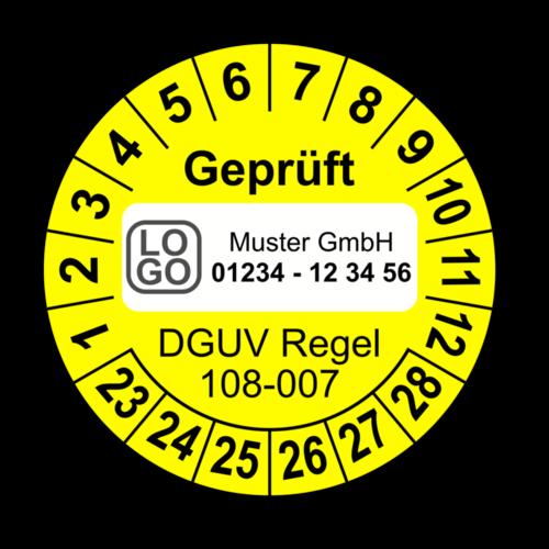Geprüft DGUV Regel 108-007, gelb, mit Wunschtext