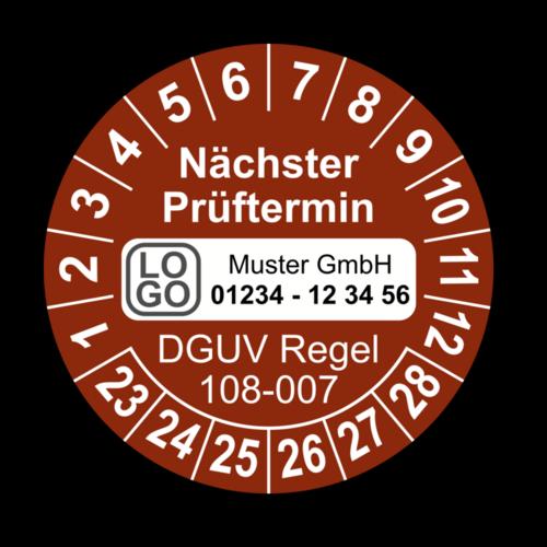 Nächster Prüftermin DGUV Regel 108-007, braun, mit Wunschtext