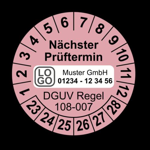 Nächster Prüftermin DGUV Regel 108-007, rosa, mit Wunschtext