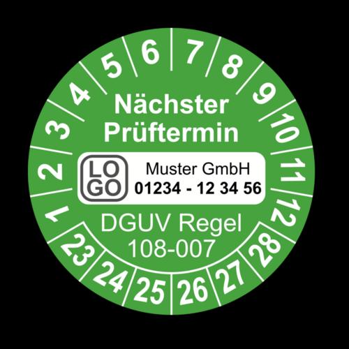 Nächster Prüftermin DGUV Regel 108-007, grün, mit Wunschtext