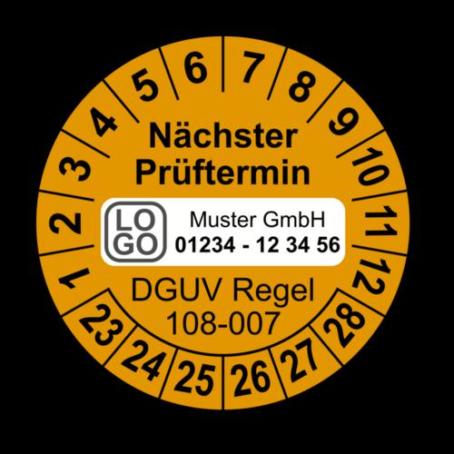 Nächster Prüftermin DGUV Regel 108-007, orange, mit Wunschtext