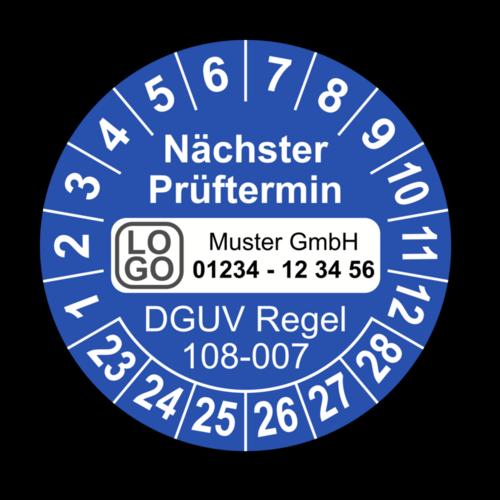 Nächster Prüftermin DGUV Regel 108-007, blau, mit Wunschtext