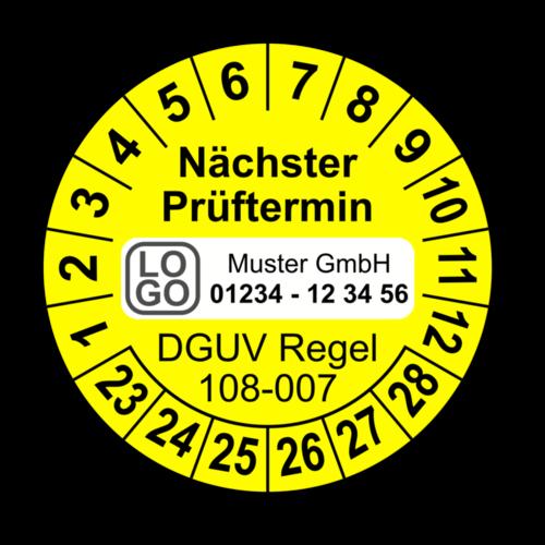 Nächster Prüftermin DGUV Regel 108-007, gelb, mit Wunschtext