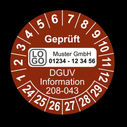 Geprüft DGUV Information 208-043, braun, mit Wunschtext