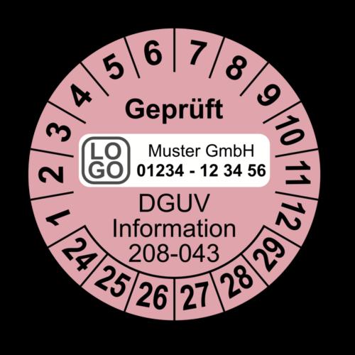 Geprüft DGUV Information 208-043, rosa, mit Wunschtext