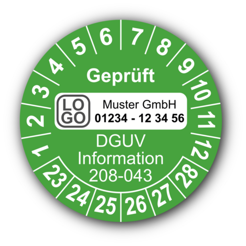 Geprüft DGUV Information 208-043, grün, mit Wunschtext