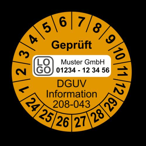 Geprüft DGUV Information 208-043, orange, mit Wunschtext