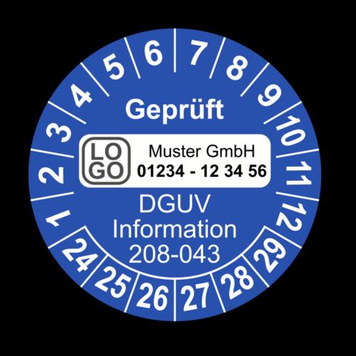Geprüft DGUV Information 208-043, blau, mit Wunschtext