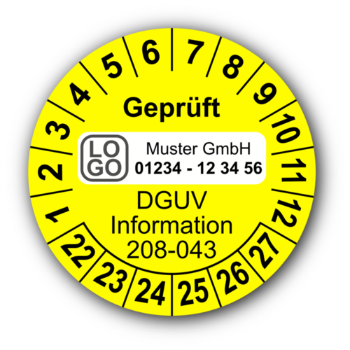 Geprüft DGUV Information 208-043, gelb, mit Wunschtext