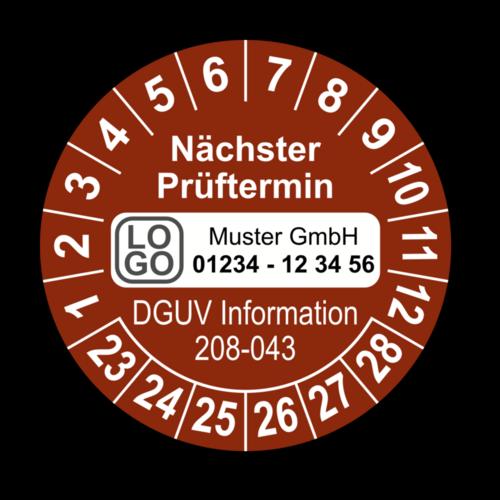 Nächster Prüftermin DGUV Information 208-043, braun, mit Wunschtext