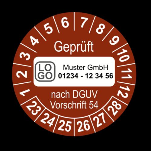 Geprüft nach DGUV Vorschrift 54, braun, mit Wunschtext