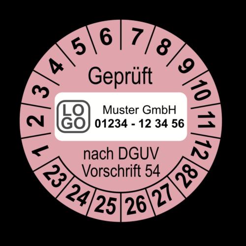 Geprüft nach DGUV Vorschrift 54, rosa, mit Wunschtext