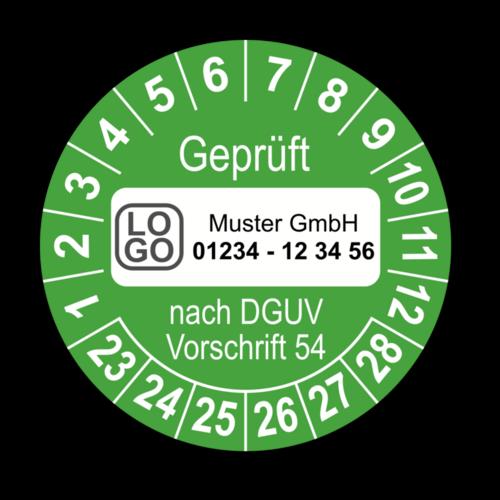 Geprüft nach DGUV Vorschrift 54, grün, mit Wunschtext