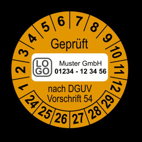 Geprüft nach DGUV Vorschrift 54, orange, mit Wunschtext