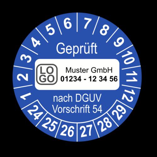 Geprüft nach DGUV Vorschrift 54, blau, mit Wunschtext