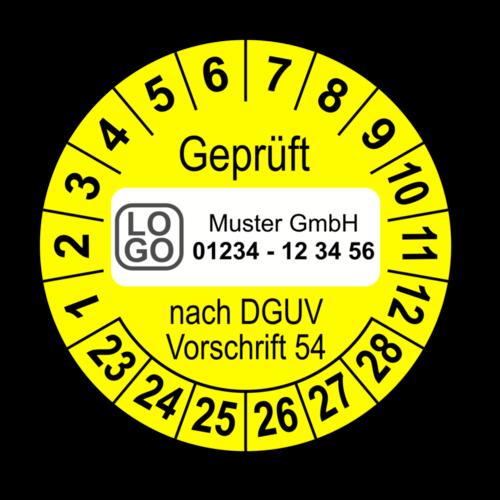 Geprüft nach DGUV Vorschrift 54, gelb, mit Wunschtext