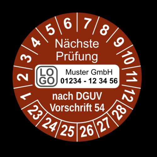 Nächste Prüfung nach DGUV Vorschrift 54, braun, mit Wunschtext