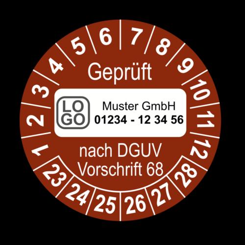 Geprüft nach DGUV Vorschrift 68, braun, mit Wunschtext