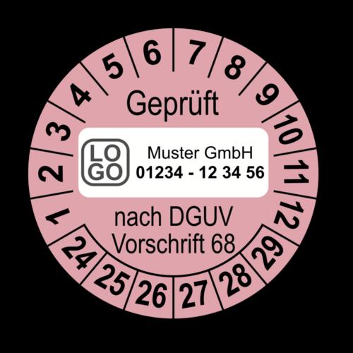 Geprüft nach DGUV Vorschrift 68, rosa, mit Wunschtext