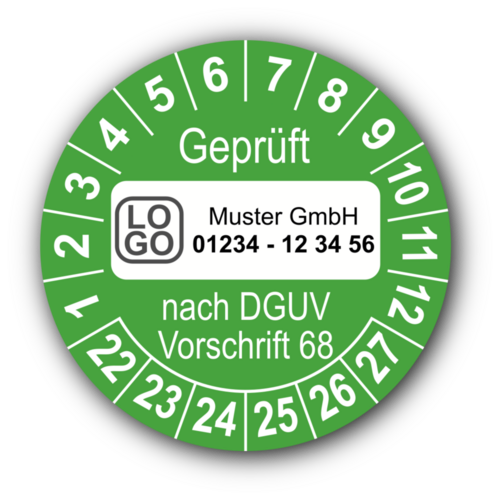 Geprüft nach DGUV Vorschrift 68, grün, mit Wunschtext