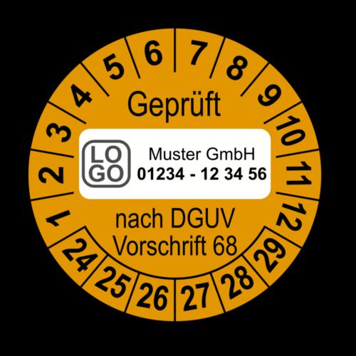Geprüft nach DGUV Vorschrift 68, orange, mit Wunschtext