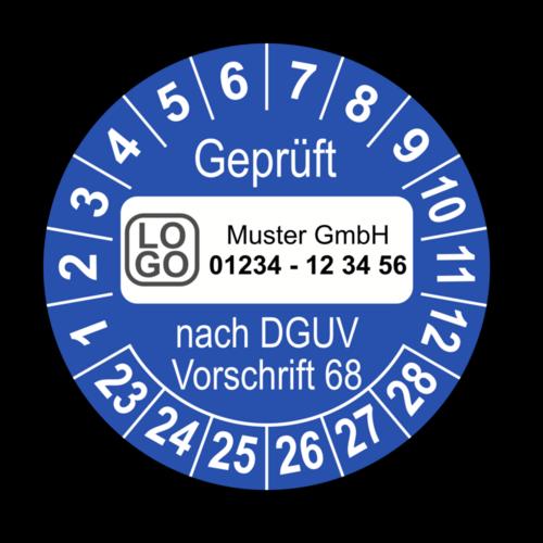 Geprüft nach DGUV Vorschrift 68, blau, mit Wunschtext