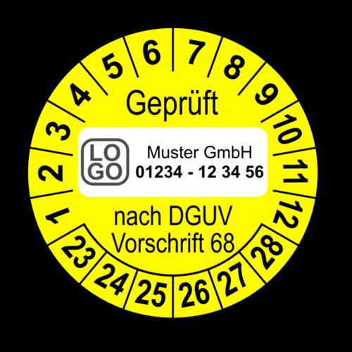 Geprüft nach DGUV Vorschrift 68, gelb, mit Wunschtext