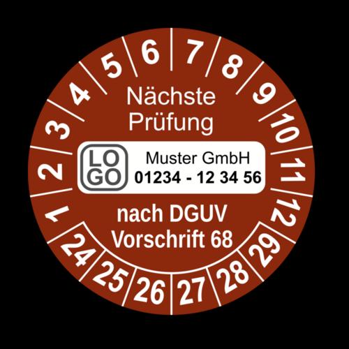 Nächste Prüfung nach DGUV Vorschrift 68, braun, mit Wunschtext