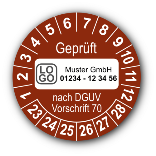 Geprüft nach DGUV Vorschrift 70, braun, mit Wunschtext