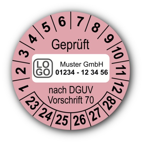 Geprüft nach DGUV Vorschrift 70, rosa, mit Wunschtext