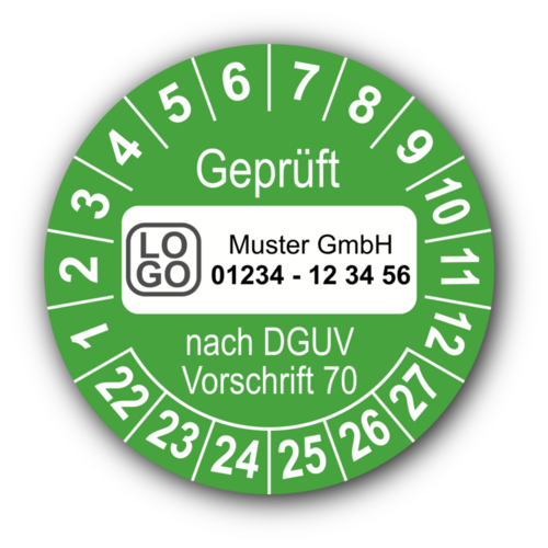 Geprüft nach DGUV Vorschrift 70, grün, mit Wunschtext