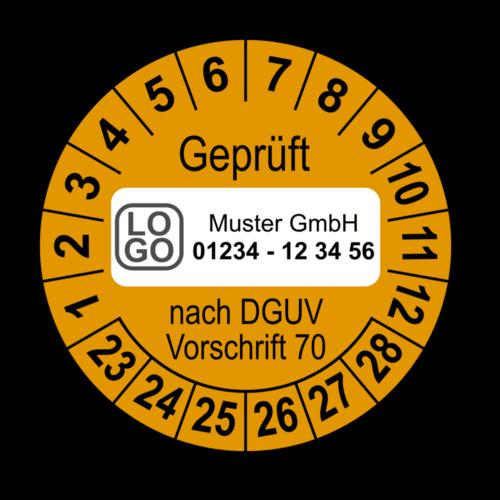 Geprüft nach DGUV Vorschrift 70, orange, mit Wunschtext