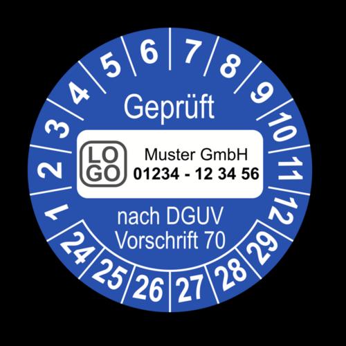Geprüft nach DGUV Vorschrift 70, blau, mit Wunschtext