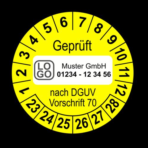 Geprüft nach DGUV Vorschrift 70, gelb, mit Wunschtext