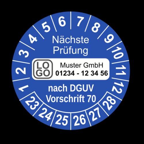 Nächste Prüfung nach DGUV Vorschrift 70, blau, mit Wunschtext