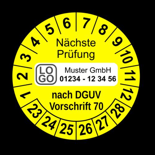 Nächste Prüfung nach DGUV Vorschrift 70, gelb, mit Wunschtext