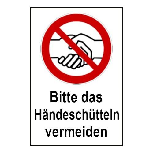 """Kombischild """"Bitte das Händeschütteln vermeiden"""""""