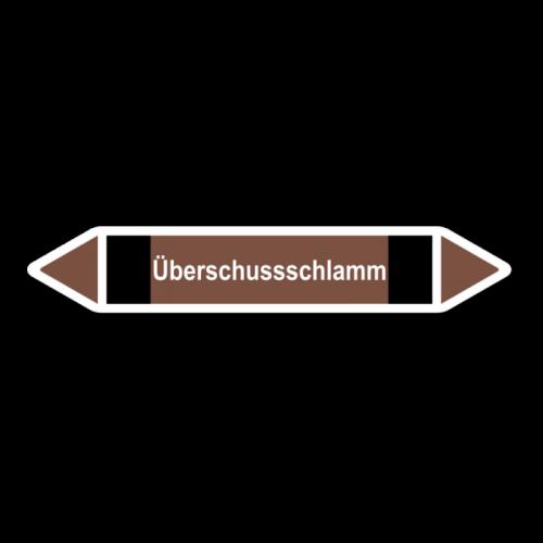 """Rohrleitungskennzeichnung """"Überschussschlamm"""", Etikett zum Aufkleben"""