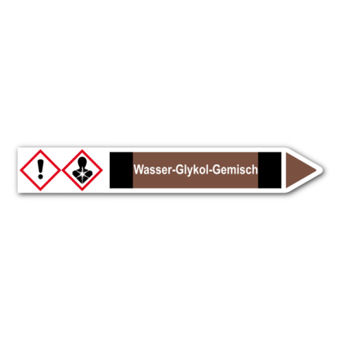"""Rohrleitungskennzeichnung """"Wasser-Glykol-Gemisch"""", Etikett zum Aufkleben"""