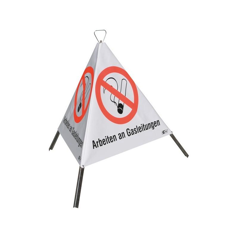 """Faltsignal """"Arbeiten an Gasleitungen"""", mit Symbol """"Zigarette"""" (P002)"""
